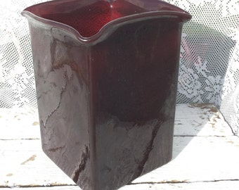 Vintage Glass vase * flowerpot Red brown, bordeaurood/height 16 cm/square/glass/Retro/Old Fashion/vase/Burgundy