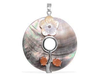 Shell, Created Orange Cat's Eye Round Pendant Silver-Tone Without Chain