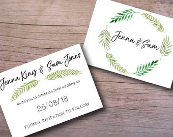 Save the date postcard - Double sided A6 printable – PDF downloads - weddings, special occasion invitations