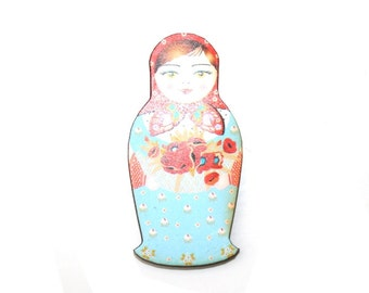 Russian Doll Brooch, Red and Blue Illustration, Wood Jewelry, Matryoshka Brooch