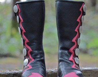 Pink Panther Moccasins - Women's Leather Boots - Custom Moccasin Boots - Knee High Boots - Celtic Fairy Boots - Black Boots with Pink Trim