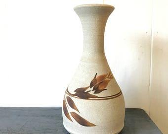 vintage studio pottery vase - handmade flower vase - boho farmhouse decor