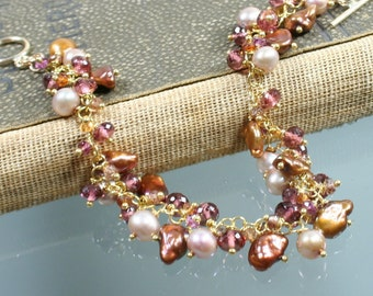Dusty Rose - Copper and Cream Pearls - Rublite - Rhodolite - Sapphire - Gold Filled Bracelet