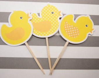 Baby Shower, Cupcake Toppers, Yellow Duck, Girl, Boy, Party Picks, Food Picks, Set of 12 - CT014