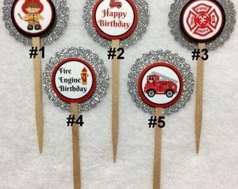 Set Of 12 Personalized Fireman Birthday Party  Cupcake Toppers (Your Choice Of Any 12)
