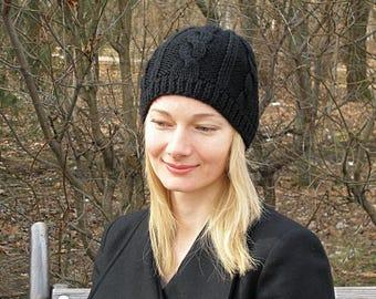Black knit hat womens wool hat black wool hat womens hand knit hat warm hat for women hat winter hat black aran hat crochet hat womens cap