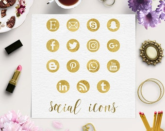 BE SOCIAL, Gold Social Media Icons, Gold Social Icons, Social Media Buttons, Round Gold Foil Icons, Coupon Code: BUY5FOR8