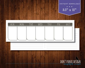 Rustic Printable Perpetual Weekly Calendar Planner - Cottage Chic Planner - Instant Download