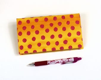 Polka Dots Checkbook Cover for Duplicate Checks with Pen Holder on Cotton Fabric, Pink Dots on Yellow Check Book Cover, Cheque Book