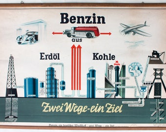 Petrol, educational chart, wall chart, published by Offsetdruckerei Friecke&Co, 1929