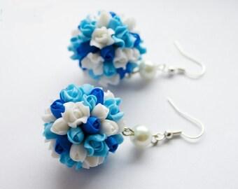 roses earrings, cold porcelain, flower earrings, blue earrings, gift for her, blue style, white roses earrings, blue roses earrings