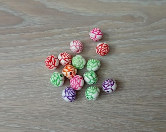 Set of 14 beads depicting roses jewelry
