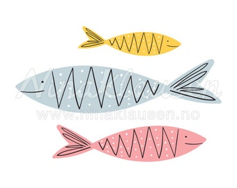 Fish Shoal Clipart Illustration for Small Commercial Use - 0001