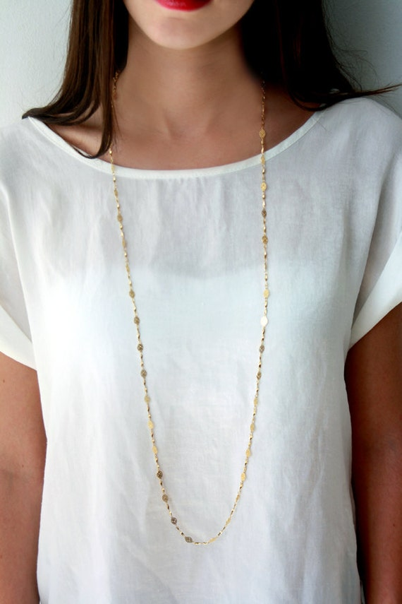 Long gold chain necklace / double strand gold chain necklace /
