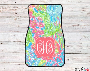 Monogrammed Lilly Inspired Car Mats - Lovers Coral