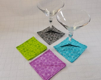 Fabric Wine Glass Coasters Stemware Protectors Coordinating Set Of 4