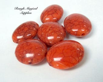 Orange Beads, 22mm Large Puffed Ovals, Crackle Acrylic Beads, Cracked Look Veined Matrix Faux Gemstone, Fall Autumn Halloween 6 Pieces SP243