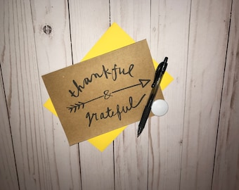 Thankful & Gratefull.  Thank you.  Just Because.  Thinking of You Card. 5x7