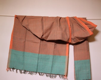 The 'Agni' Orange and Turquoise Striped Scarf from Weaving Destination 100% Organic Cotton