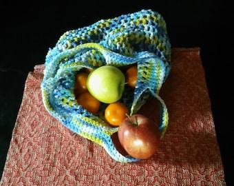 Blue Hand Crochet Market Bag
