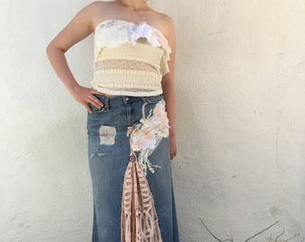 Bohemian denim and pink lace skirt