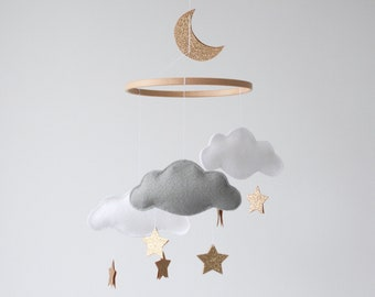 Cloud, Star and Moon Baby Mobile, Gold Nursery, Crib Mobile, White, Pale Grey and Soft Gold