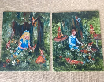 Vintage Oil Paintings on Canvas /  Signed Original Art / Forest Fairies and Children /  Nature Painting / Whimsical Art / Amateur Artist