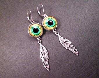 Eye See You, Eyeball and Feather Earrings, Green Yellow and Black, Silver Dangle Earrings, FREE Shipping U.S.