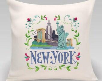 Embroidered pillow- Wanderlust-new York- Decorative pillow-Home decor-Bedroom Decor-Princeton Threads