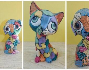 """Vintage Patchwork Puppy Kitty Figurine Pair Ceramic Patchwork Big Eye Puppy Cat 7"""" inches"""