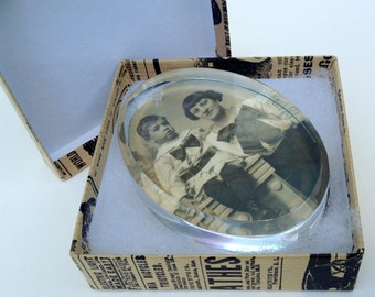 Gift Boxed Paperweight Antique Photograph Mother and Son BIG RIBBONS Desk Handmade Art Gift Item