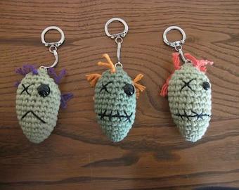 Crocheted Zombie Head Keychain