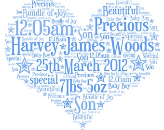 Personalised Christening Word Art - A  Love Heart design - A4 Print or Digital File