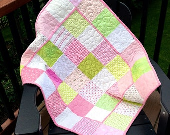Pink and apple green baby girl quilt with Minky back