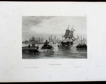 Archangel Harbor, Port Russia. Fine Antique Steel Engraving. Circa 1850. Ships, Boats, City in Background.