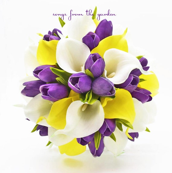 Ready to ship real touch yellow white callas purple tulips mightylinksfo