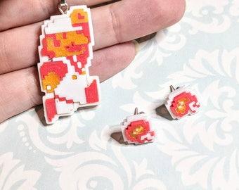 Fire Mario 3d Printed Mosaic Jewelry Set
