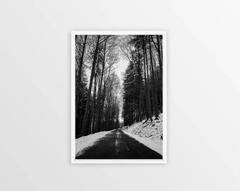 Black White Prints Road Print Forest Road Print Winter Wall Art Downloadable Print Road Printable Instant Download Adventure Wanderlust A3