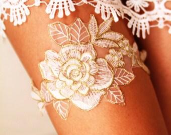 Bridal Garter Wedding Garters Bridal Lace Garter - Rustic Wedding Garter Bohemian Ivory /Antique White & Gold Golden Rose Flower