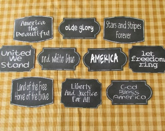 Patriotic Chalkboard Style Sticky Labels