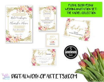 Wedding Invitation Template, DIY Floral Peony Boho Wedding Invitation Suite Template, Editable PDF, Instant Download, Printable, #rc