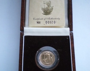 1987 Britannia Proof Gold 1/10th Ounce coin with Box