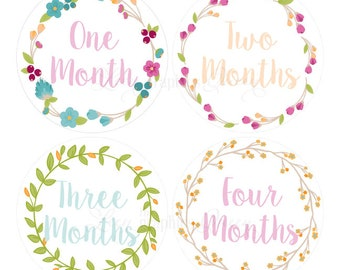 Baby Month Stickers Baby Girl Growth Decals Monthly Baby Stickers Baby Shirt Stickers Baby Shower Gift Colorful Floral Wreath Decals