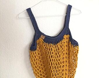 Boho Market Bag~Gold and Denim Blue Crochet Tote Bag~Reusable Shopping Bag~Beach Bag~Market Tote~Crocheted Grocery Bag~blue~yellow gold