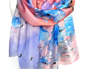 Hand Painted Silk Scarf. Floral Scarf. Woman Silk Shawl. Bridal Wedding Anniversary Gift. Genuine Art. Peach Orange Dream. MADE2ORDER