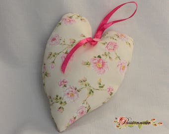 Heart hanging in beige and pink floral fabric