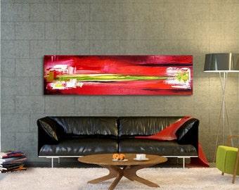 Original Abstract Painting handmade artwork 15.5x55 red painting horizontal contemporary landscape, modern artwork beautiful wall decor art