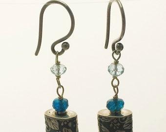 Roll printed and gemstone earrings
