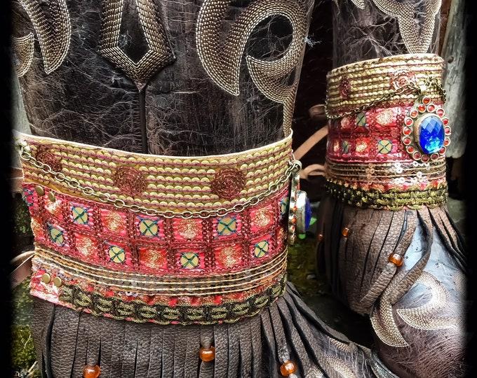 Bohemian Pandora Treasure Boot Wraps, Boot Jewelry, Genuine Leather, Wearable Fabric Art, Magical Boho Treasure ~ Sold as a Pair