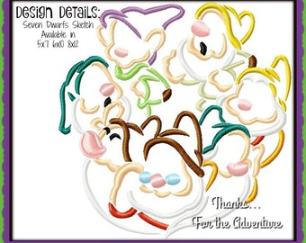 Seven Dwarfs from Snow White Sketch Digital Embroidery Machine Design File 5x7 6x10 8x12